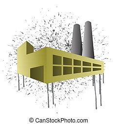 éclaboussure, usine, illustration, encre