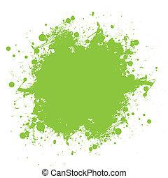 éclaboussure, vert, encre