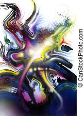 éclaboussure, vif, multicolore