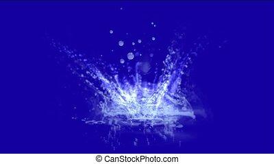 éclaboussure, waterdrop, ondulation, geyser., étang, &