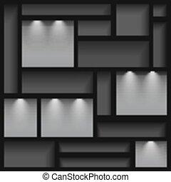 éclairé, étagères, réflecteur, ligh, vide