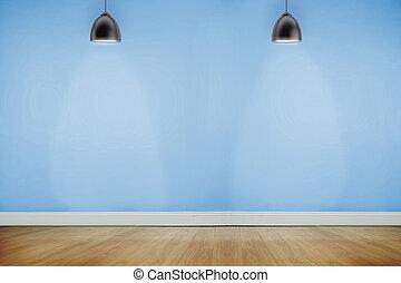éclairé, bois, salle, projecteurs, plancher