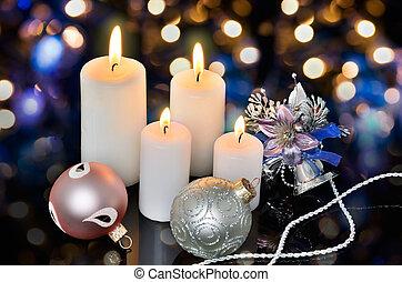 éclairé, bougies, quatre, bokeh, décorations, noël blanc