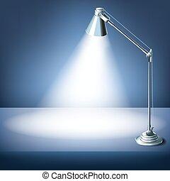 éclairé, bureau, lamp., travail, réaliste, vecteur, endroit, bureau, table