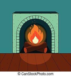 éclairé, confortable, illustration, vecteur, fond, interior., cheminée