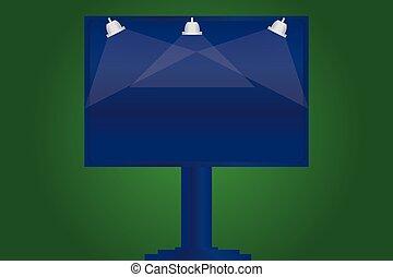 éclairé, extérieur, disposition, annonces, business, jambe, couleur, affiche, signage, salutation, une, lampe, vecteur, bon, gabarit, vide, invitation, carte, monté, promotion, vide