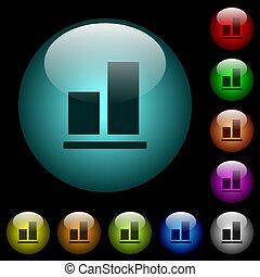 éclairé, fond, couleur, aligner, icônes, boutons, verre