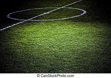 éclairé, football, partie, terrain