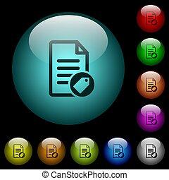 éclairé, icônes, couleur, boutons, verre, document,...