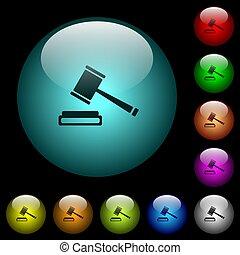 éclairé, icônes, enchère, boutons, verre, couleur marteau