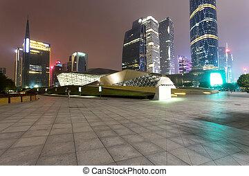éclairé, moderne, cityscape, et, bâtiments bureau