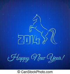 éclairé, néon, année, nouveau, 2014., horse., heureux