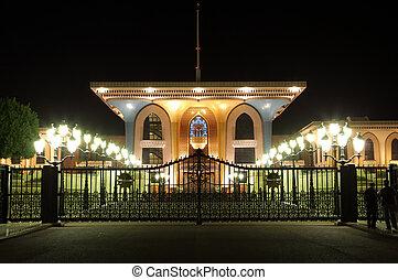 éclairé, palais, oman, king`s, muscat, sultanat, night.