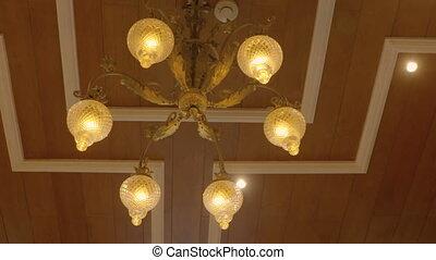 éclairé, paneled, lustre, plafond, métal