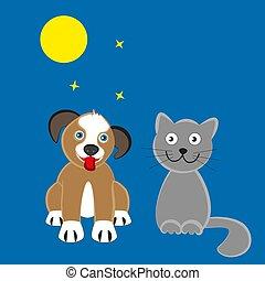 éclairé par la lune, chien, night., chat