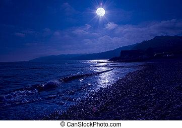 éclairé par la lune, mer