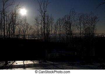éclairé par la lune, nuit
