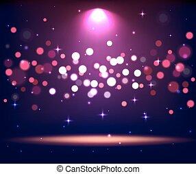éclairé, tache, scène, lumières, podium, stand, violet, étape