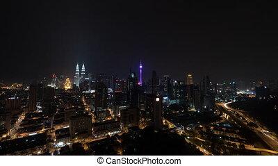 éclairé, timelapse, malaisie, lumpur, kuala, nuit