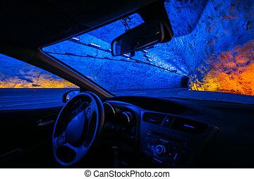 éclairé, tunnel, voiture, norvégien, montagnes., route, vue