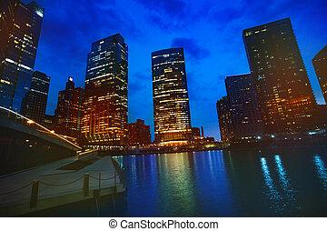 éclairé, usa, chicago, en ville, nuit, pendant, gratte-ciel