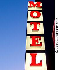 éclairé, vendange, motel, closeup, signe