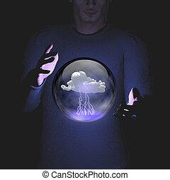 éclair, sphère, conmtaining, manipulation, nuage, homme