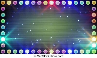 éclairage, ampoules, multicolore, cadre