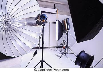 éclairage, beaucoup, moderne, arrière-plans, photo studio,...
