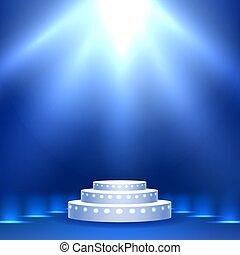 éclairage bleu, étape, podium