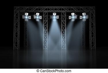 éclairage, concert, scène