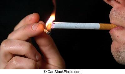 éclairage, matc, cigarette, homme, haut