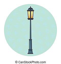 éclairage public, dessin animé, isolé