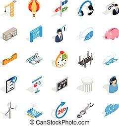 éclairage public, ensemble, isométrique, style, icônes
