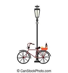 éclairage public, fromage, vélo, vin, vendange