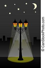 éclairage public, lanterne, ciel, nuit