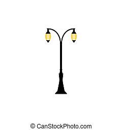 éclairage public, vendange, lampes, deux