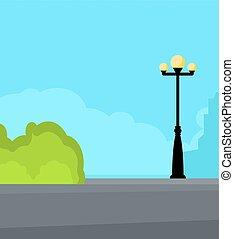 éclairage public, vendange, rue