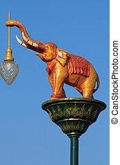 éclairage, rue, éléphants