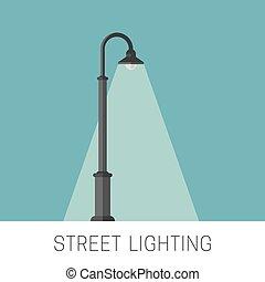 éclairage, rue, bannière