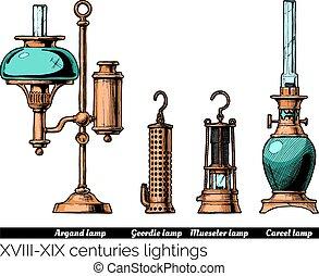 éclairages, xix, centuries, -, xviii
