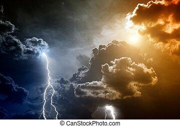 éclairs, ciel, orageux