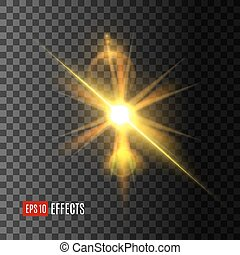 éclat, doré, flamme, effet, lentille, lumière