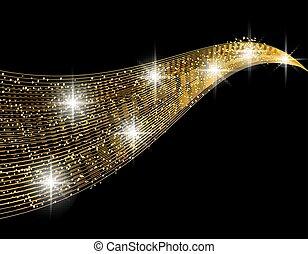 éclat, doré, résumé, effet, illustration, élément, arrière-plan., conception, noir, vague, comet.