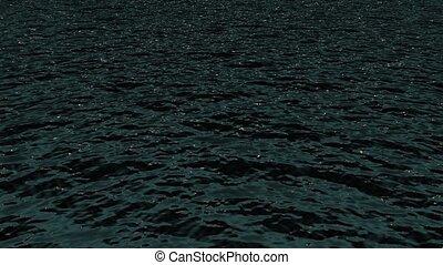 éclat, vagues océan, night., lumière, &