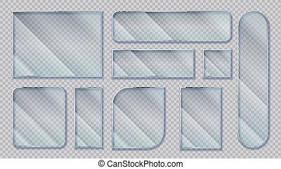 éclat, verre, clair, isolé, cadres, plastique, formes, banners., fenêtre, vecteur, réaliste, reflections., acrylique, effet, transparent