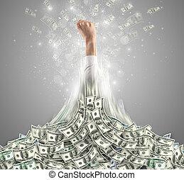 éclatement, main, tas, argent, dehors