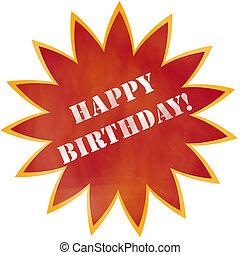 éclater, anniversaire, conception, orange, rouges, heureux