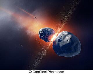 éclater, astéroïdes, espace, entrer en collision