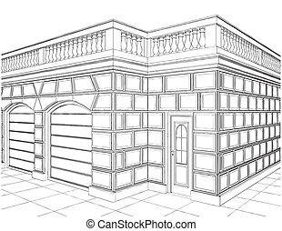 éclectique, garage, bâtiments